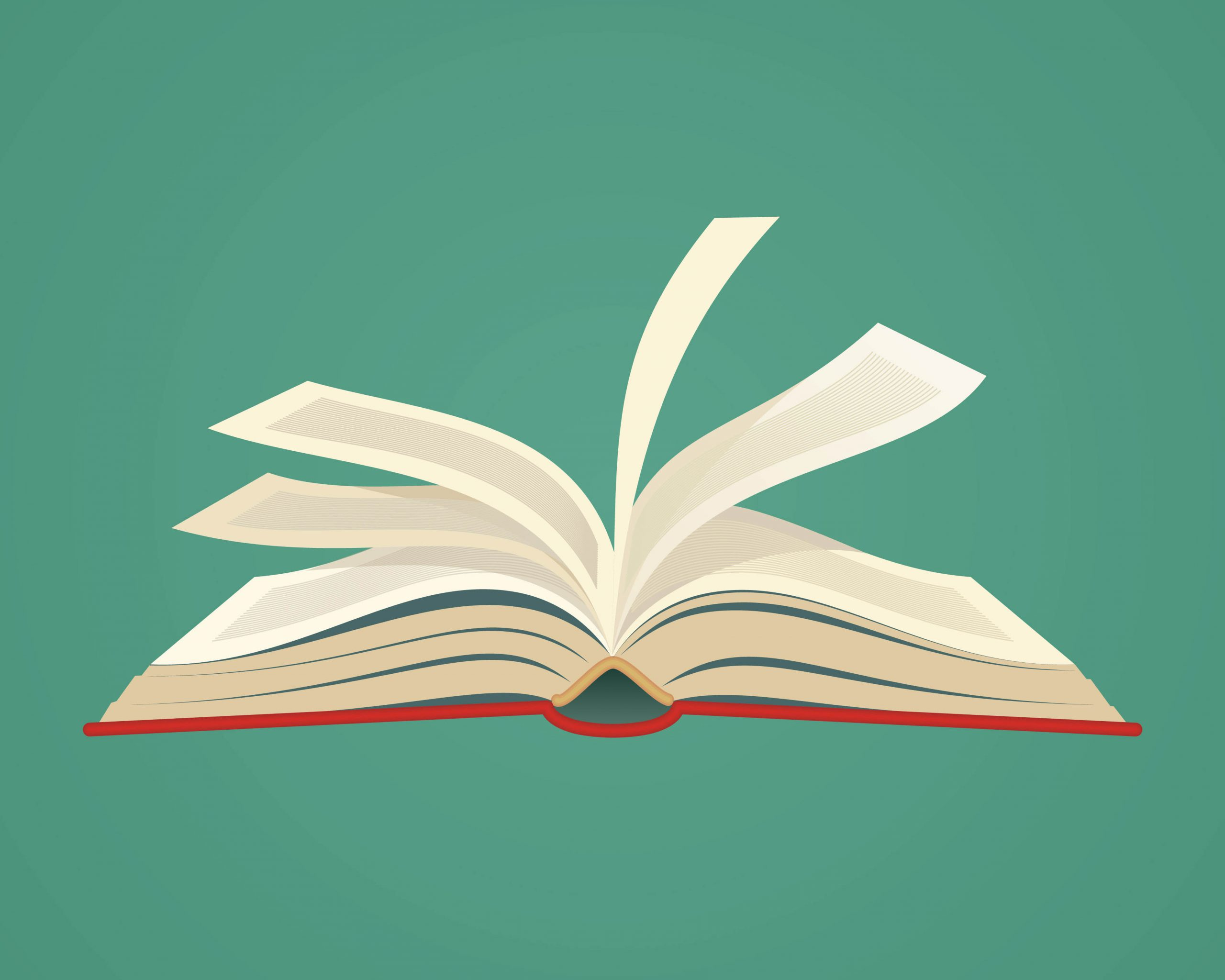 Open book with ruffling pages